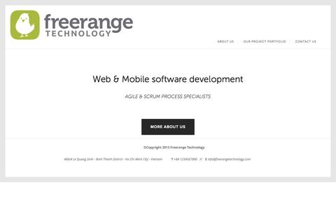 Screenshot of Home Page About Page freerangetechnology.com - Free Range Technology - captured Sept. 30, 2014