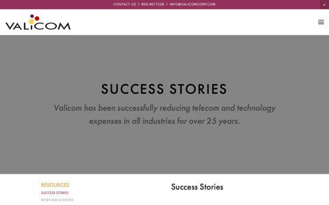 Screenshot of Case Studies Page valicomcorp.com - Success Stories — Valicom - captured Nov. 11, 2017