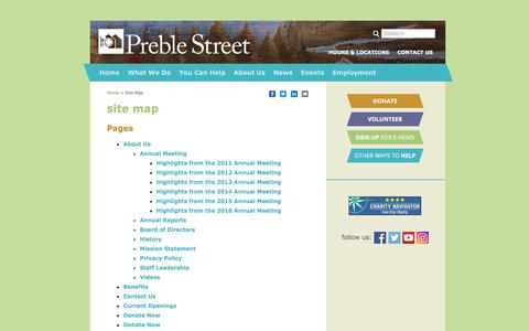 Screenshot of Site Map Page preblestreet.org - Site Map - Preble Street - captured July 20, 2018