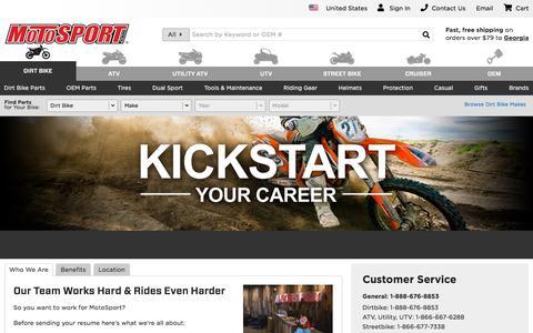 Screenshot of Jobs Page motosport.com - Dirt Bike & Motocross Online Store   MotoSport - captured Sept. 21, 2018