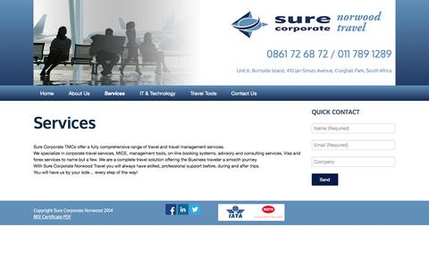 Screenshot of Services Page surecorporatenorwood.co.za - Services   Sure Corporate Norwood - captured Oct. 7, 2014