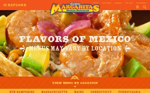 Screenshot of Menu Page margs.com - Food & Drink | Margaritas Mexican Restaurant - captured Feb. 12, 2016