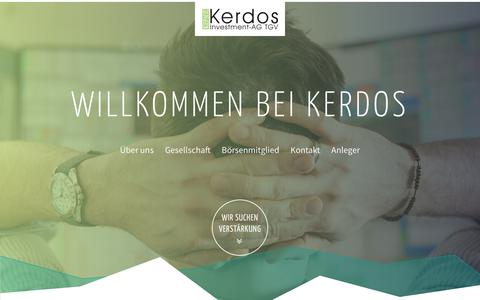Screenshot of Home Page kerdos.de - Kerdos - international agierende Investmentaktiengesellschaft - captured Oct. 15, 2018