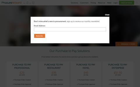 Screenshot of Pricing Page procurewizard.com - Pricing · Procure Wizard procurement solutions - captured July 17, 2016