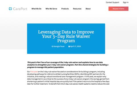 Screenshot of Blog careporthealth.com - Leveraging Data to Improve Your 3-Day Rule Waiver Program - Careport Health - captured Feb. 20, 2020