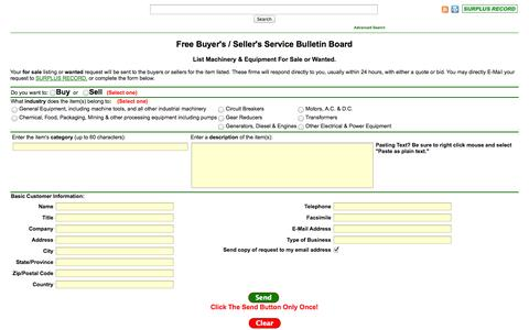 Screenshot of Landing Page surplusrecord.com - Equipment Buyers Bulletin Board - Surplus Record Used Machinery Wanted - captured Oct. 27, 2014