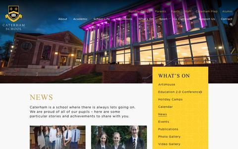 Screenshot of Press Page caterhamschool.co.uk - News | Caterham School - captured Oct. 21, 2018