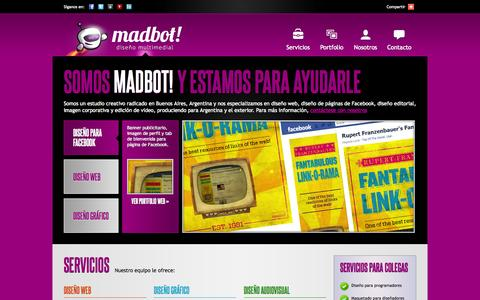 Screenshot of Home Page madbot.com.ar - Madbot! - Diseño multimedial en Buenos Aires, Argentina - captured Sept. 30, 2014