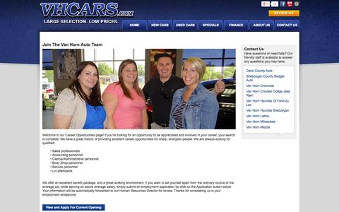 Screenshot of Jobs Page vhcars.com - Find your Careers & Jobs and join Van Horn Automotive Group - captured Oct. 6, 2014