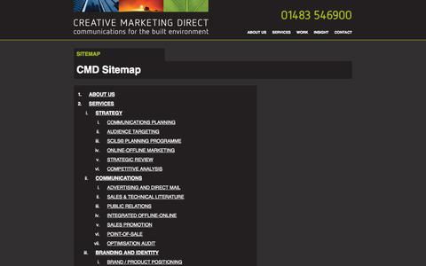 Screenshot of Site Map Page creativemarketingdirect.co.uk - CREATIVE MARKETING DIRECT - Communications for the Built Environment - captured Oct. 3, 2014