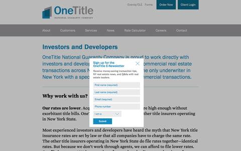 Screenshot of Developers Page onetitle.com - Investors and Developers    OneTitle National Guaranty Company, Inc. - captured Feb. 22, 2016
