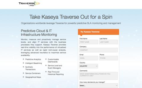 Screenshot of Trial Page kaseya.com - Traverse by Kaseya | Free Trial - captured May 10, 2017