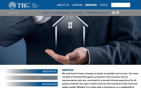 Screenshot of Services Page trgc.com - TRG offers real estate services including residential and commercial transactions - captured Oct. 28, 2017