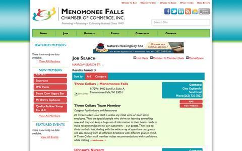 Screenshot of Jobs Page fallschamber.com - Job Search - Menomonee Falls Chamber of Commerce, Inc., WI - captured Nov. 28, 2016