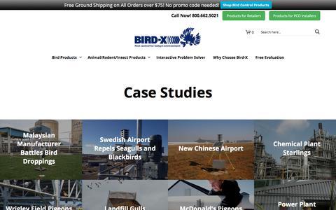 Screenshot of Case Studies Page bird-x.com - Case Studies   Bird Control and Deterrents - captured Feb. 11, 2018