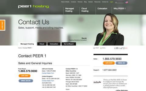 Screenshot of Contact Page peer1.com - Contact PEER 1 | PEER 1 Hosting - captured Sept. 18, 2014