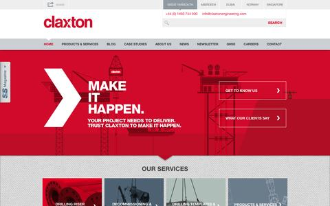 Screenshot of Home Page claxtonengineering.com - Claxton: Offshore Engineering | Drilling Risers | Centralisers - captured Oct. 2, 2014