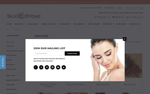 Screenshot of Services Page silknstone.com - Services- Day Spa, Hair salon, Nail salon, threading, waxing - captured Oct. 18, 2018