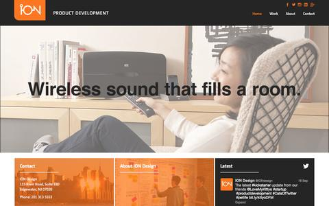 Screenshot of Home Page iondesign.com - ION Design - Product Design Firm New York City - captured Sept. 23, 2014