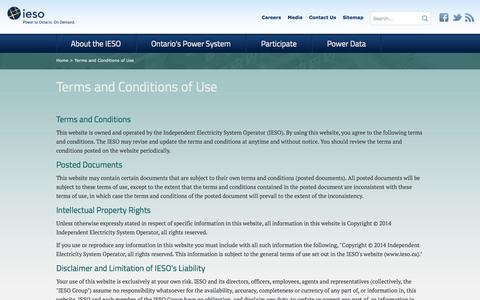 Screenshot of Terms Page ieso.ca - IESO                                       Terms and Conditions of Use - captured Oct. 6, 2014
