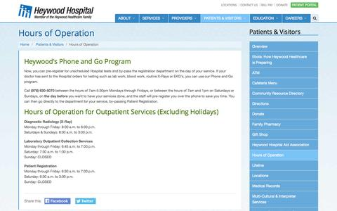 Screenshot of Hours Page heywood.org - Hours of Operation - captured Nov. 2, 2014