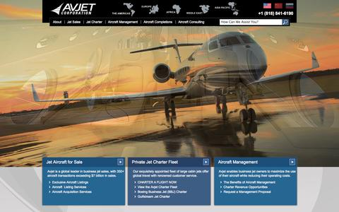 Screenshot of Home Page avjet.com - Airplanes & Jets for Sale | Private Aircraft Charters | Avjet - captured Oct. 4, 2014
