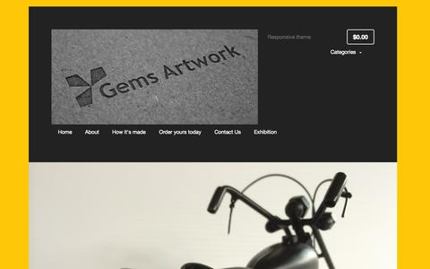 Screenshot of Home Page gemsartwork.com - Welcome – Gems Artwork - captured Sept. 29, 2014