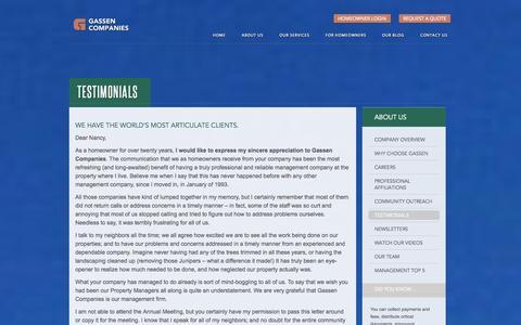 Screenshot of Testimonials Page gassen.com - Property Management Company Reviews, Testimonials | Gassen - captured Nov. 1, 2014