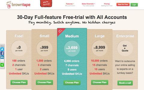 Screenshot of Pricing Page browntape.com - Browntape.com | Pricing - captured Sept. 13, 2014