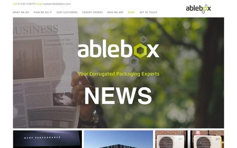 Screenshot of Press Page ablebox.com - Packaging Industry News & Updates | Ablebox - captured Oct. 2, 2018