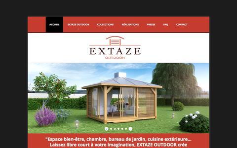 Screenshot of Home Page extaze-outdoor.com - Extaze Outdoor, fabricant abris de jardin en bois, abris spa - captured Oct. 3, 2014