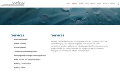 Screenshot of Services Page conlega.com - Conlega   Services - captured July 20, 2018