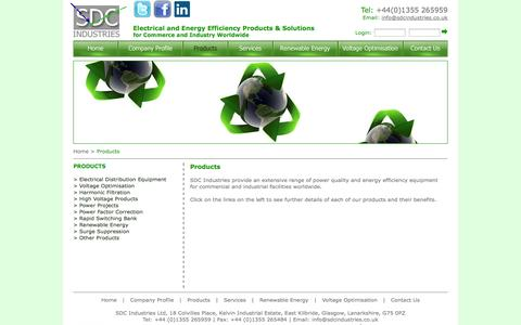 Screenshot of Products Page sdcindustries.co.uk - SDC Industries Products - captured Sept. 30, 2014