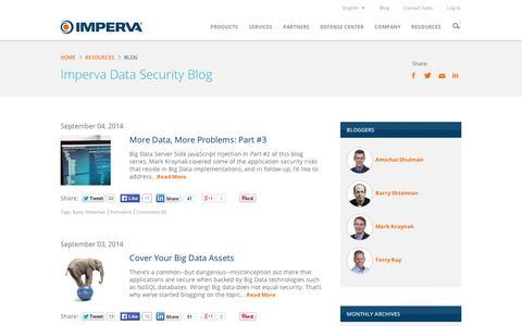 Screenshot of Blog imperva.com - Imperva Data Security Blog - captured Sept. 11, 2014