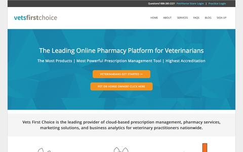 Screenshot of Home Page vetsfirstchoice.com - Vets First Choice  |  Your Pharmacy. Your Clients. Your Success. - captured July 3, 2015