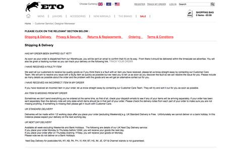 Screenshot of Support Page Terms Page etojeans.co.uk - Customer Service | Designer Menswear - captured Oct. 22, 2014