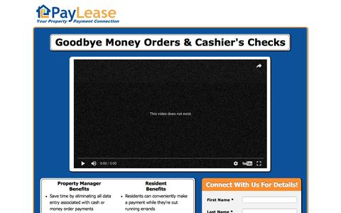 Screenshot of Landing Page paylease.com - Cash Pay Solution LP - captured Dec. 25, 2016