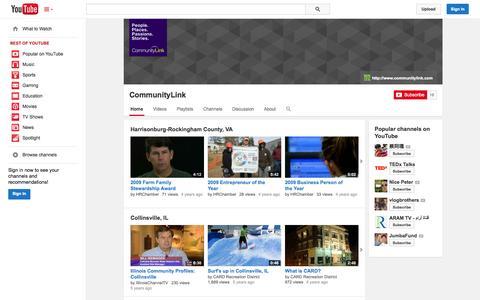 Screenshot of YouTube Page youtube.com - CommunityLink  - YouTube - captured Oct. 22, 2014