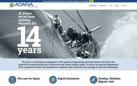 Screenshot of About Page adaravp.com - About | Adara Ventures - captured Sept. 19, 2014