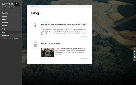 Screenshot of Blog nccar.us - Blog | North Carolina Center for Automotive Research – NCCAR - captured Oct. 26, 2014