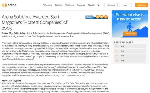 """Screenshot of Press Page arenasolutions.com - Arena Solutions Awarded Start Magazine's """"Hottest Companies"""" of 2003 