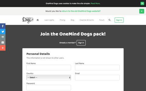 Screenshot of Signup Page oneminddogs.com - Sign Up - OneMind Dogs - captured Nov. 21, 2018