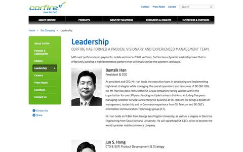 Screenshot of Team Page corfire.com - Mobile Commerce Platform | SK C&C USA - captured Oct. 3, 2014