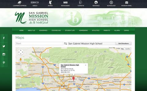 Screenshot of Maps & Directions Page sgmhs.org - San Gabriel Mission High School - captured Nov. 2, 2014