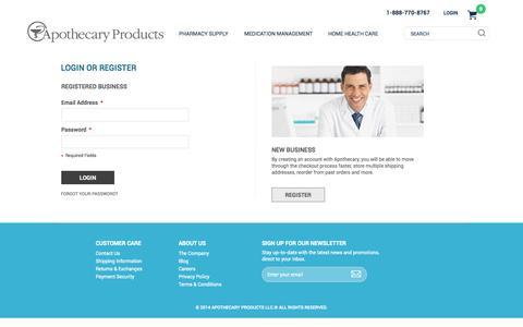 Screenshot of Login Page apothecaryproducts.com - Customer Login - captured Sept. 23, 2014