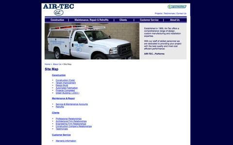 Screenshot of Site Map Page airtecperforms.com - Air-Tec - Site Map - captured Oct. 4, 2014