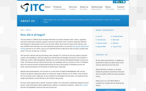 Screenshot of About Page itcweb.co.uk - About us - ITC - captured Oct. 6, 2014