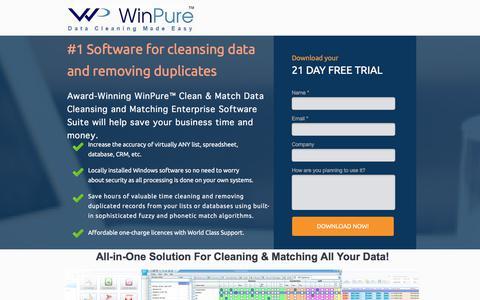 Screenshot of Landing Page winpure.com - Award-Winning Data Cleansing and Matching Software. - captured Sept. 13, 2017