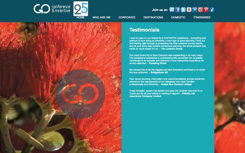 Screenshot of Testimonials Page goci.co.nz - GO Conference & Incentive - Testimonials - captured Oct. 1, 2014
