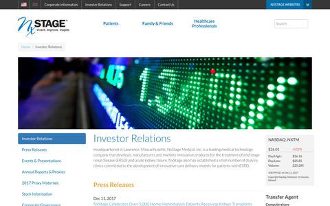 Investor Relations | NxStage Medical, Inc.